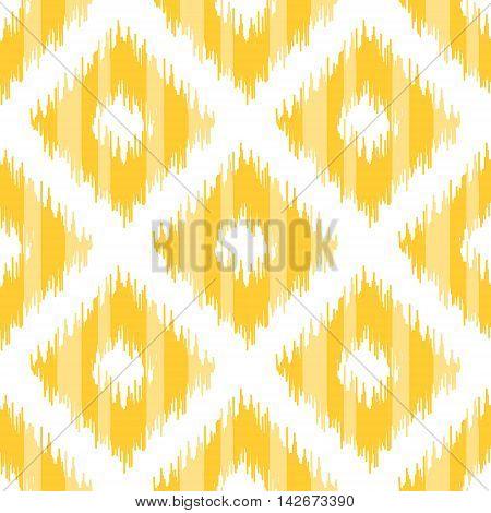 Seamless geometric pattern, based on ikat fabric style. Vector illustration. Yellow diamond shapes on white background.