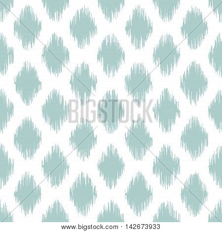 Seamless geometric pattern, based on ikat fabric style. Vector illustration. Teal spots on white background.