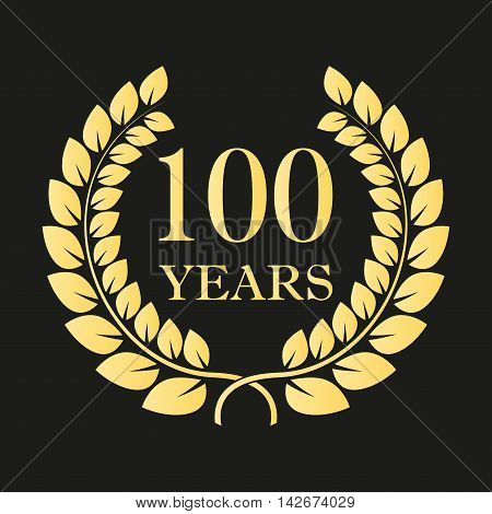 100 years anniversary laurel wreath icon or sign. Template for celebration and congratulation design. 100th anniversary golden label. Vector illustration.