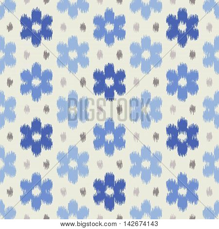 Seamless geometric pattern, based on ikat fabric style. Vector illustration. Blue seamless floral pattern. Blue flowers and gray dots on light gray background.