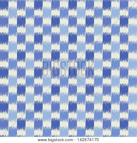 Seamless geometric pattern, based on ikat fabric style. Vector illustration. Blue checkered rug pattern.