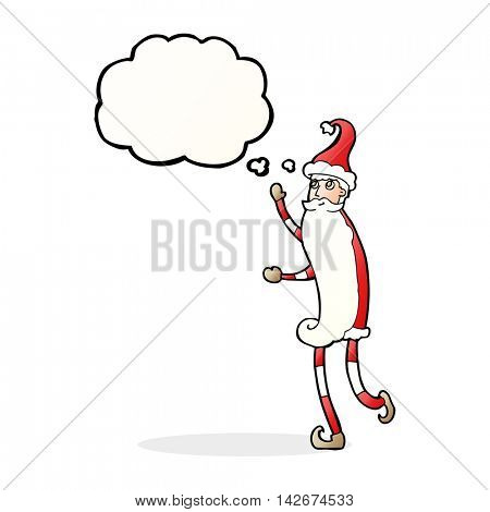 cartoon skinny santa with thought bubble