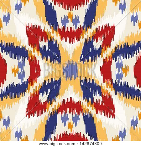 Seamless geometric pattern, based on ikat fabric style. Vector illustration. Oriental rug pattern, in yellow, orange and red.