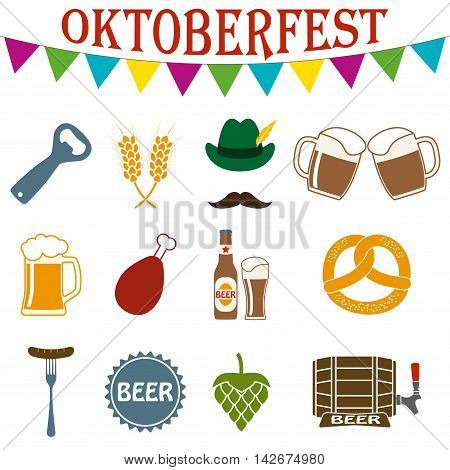 Octoberfest icon set. German food and beer symbols isolated on white background. Oktoberfest beer festival design elements. Colorful vector illustration.