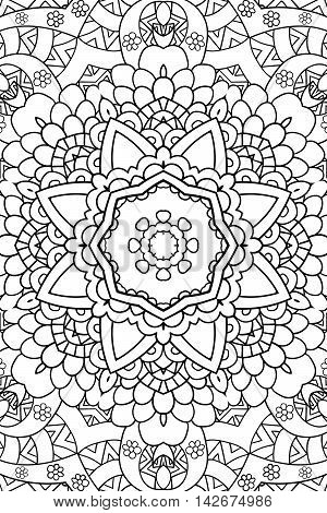 Mandala background. Round Ornament.. Coloring book for adults. Oriental pattern, vector illustration. Islam and Arabic and Indian and turkish and pakistan, and chinese, ottoman motifs.
