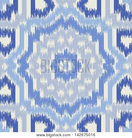 Seamless geometric pattern, based on ikat fabric style. Vector illustration. Oriental rug pattern, in blue.