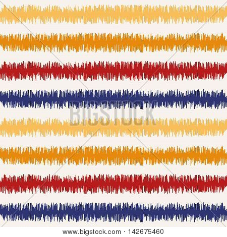 Seamless geometric pattern, based on ikat fabric style. Vector illustration. Oriental rug pattern, in yellow, orange and red. Striped pattern.