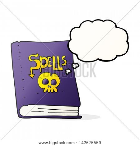freehand drawn thought bubble cartoon spell book