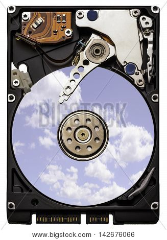 Close up of a computer hard drive isolated on a white background