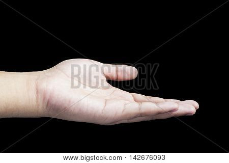 Black background, close up hands, cupped hands, empty hand, hand, hand man, open hands