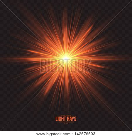 Abstract gleaming light rays vector background. Warm glint glowing effect on transparent backdrop. Design element. Celebration holidays and party illustration