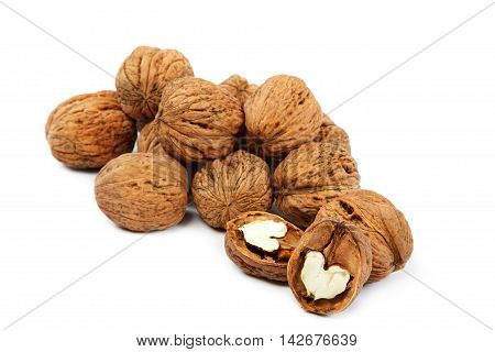 Walnuts isolated on the a white background.