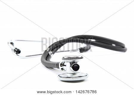 Medical stethoscope isolated on a white background.