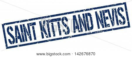 Saint Kitts And Nevis stamp. blue grunge square isolated sign