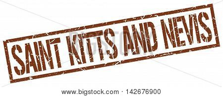 Saint Kitts And Nevis stamp. brown grunge square isolated sign