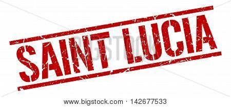 Saint Lucia stamp. red grunge square isolated sign