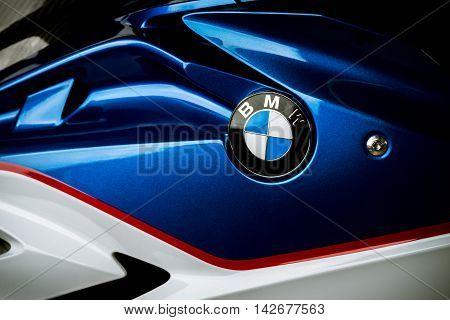 BANGKOK, THAILAND - AUGUST 11, 2016 : Closeup of BMW logo on BMW S1000RR  2015 model. BMW S1000RR is sport bike manufactured by BMW Motorrad