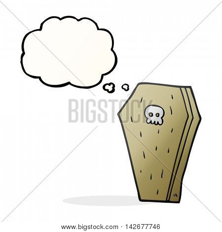 freehand drawn thought bubble cartoon halloween coffin