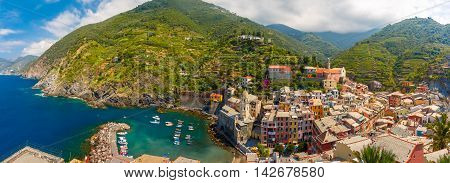 Aerial panoramic view of Vernazza fishing village in Five lands, Cinque Terre National Park, Liguria, Italy.