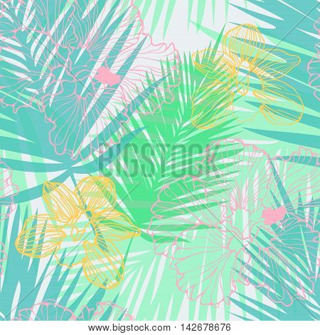 vector seamless tropical pattern with palm leaves