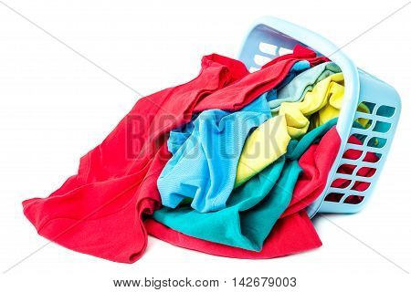 Clothing with a blue container for washing isolated on white background.