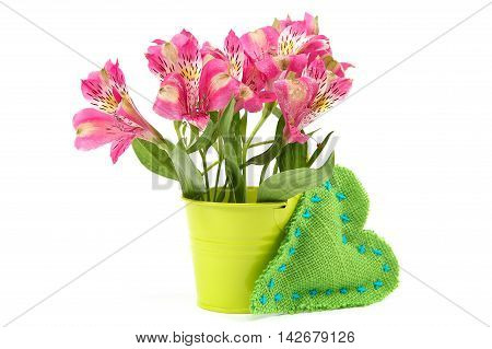 Pink lily flowers in a bucket and cushion heart isolated on white background.
