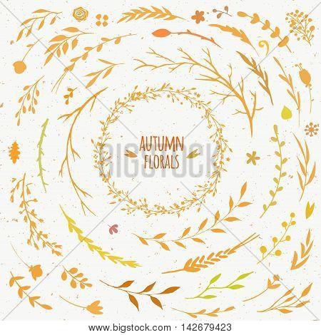rustic autumn collection, vector floral set with leaves, flowers, branches and sticks, autumn wreath with golden and yellow leaves