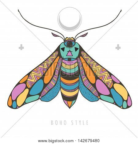 bright colorful moth, vector illustartion with colorful and mysterious butterfly