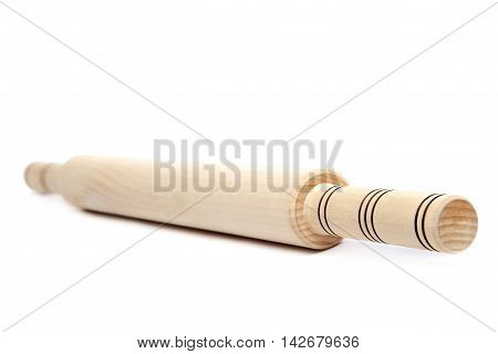 Wooden rolling pin isolated on white background.