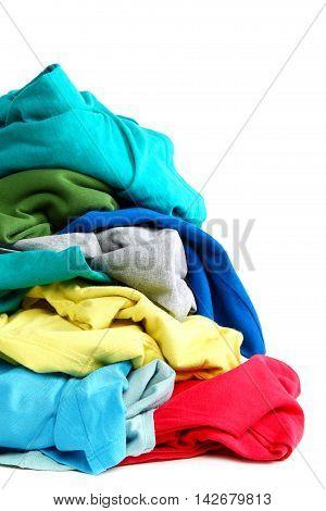 Pile of clothes washing isolated on white background.