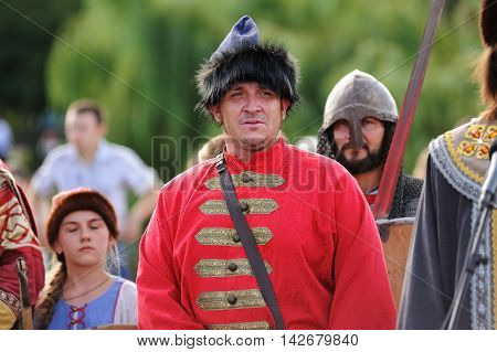 Orel Russia - August 05 2016: Orel city day. Man in medieval Russian cossack suit closeup
