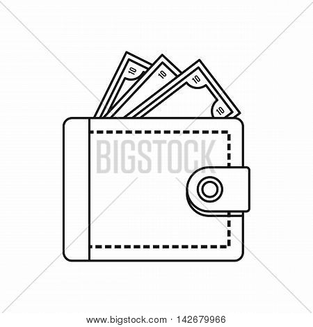Purse with money icon in outline style isolated on white background. Finance symbol vector illustration