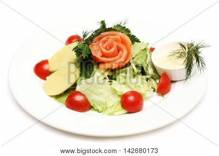 Tasty Salad with fish potatoes and tomatoes