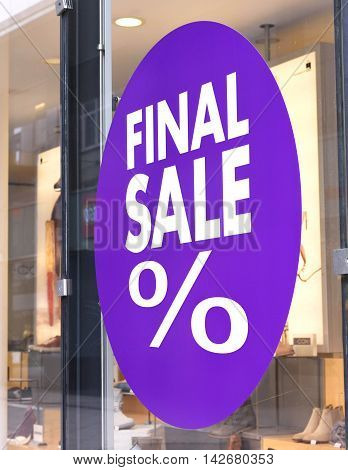 Final sale sign at a shop window.