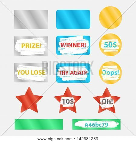 Colored icons win for lottery tickets and cards. Silver and gold forms for instant lottery with scratches and letters. Scratch card elements.