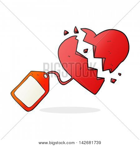 freehand drawn cartoon luggage tag on broken heart