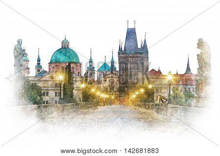 Prague - famous landmark Charles Bridge with illumination, watercolor artwork. Czech, European travel