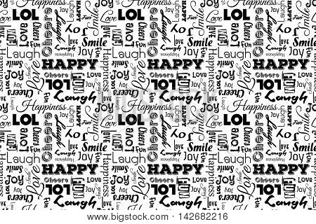 Seamless pattern with words: happy joy laugh smile happiness lol love fun cheers. Vector. Transparent background.