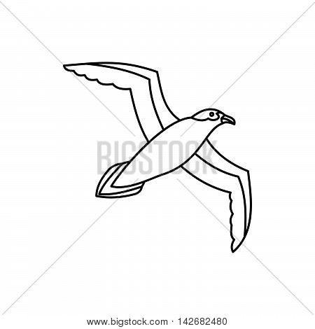 Seagull icon in outline style isolated on white background. Bird symbol vector illustration