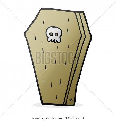 freehand drawn cartoon halloween coffin
