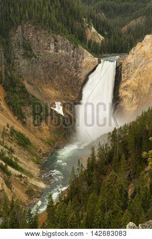 Water flows fast over the edge in the Grand Canyon of the Yellowstone