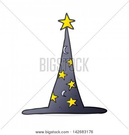 freehand drawn cartoon wizard hat