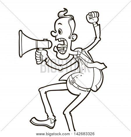 angry man shouting through megaphone vector illustration