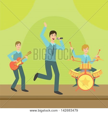 Music Band Performing On Stage Simplified Graphic Drawing In Bright Colors. Show On Stage Flat Vector Illustration