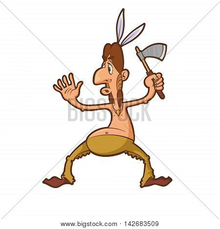 Cartoon native american warrior character attacking with a tomahawk