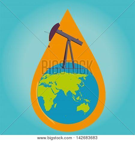 Oil pumps in the world vector illustration design
