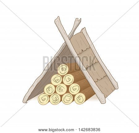 Pile of firewood. Isolated illustration. Vector. picnic area