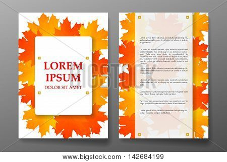 Template brochure with foliages seasons colors. Vector illustration