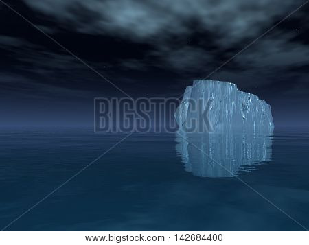 High Resolution Iceberg in open sea 3D Rendered