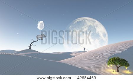Elephant stands on thin branch of withered tree in surreal landscape with idea tree 3D Rendered